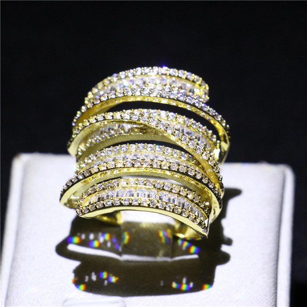 Brand Cross Jewelry Yellow Gold Plated Wedding Band Ring Micro Pave Simulated Diamond CZ Rings for Women Bride Statement Engagement Gift