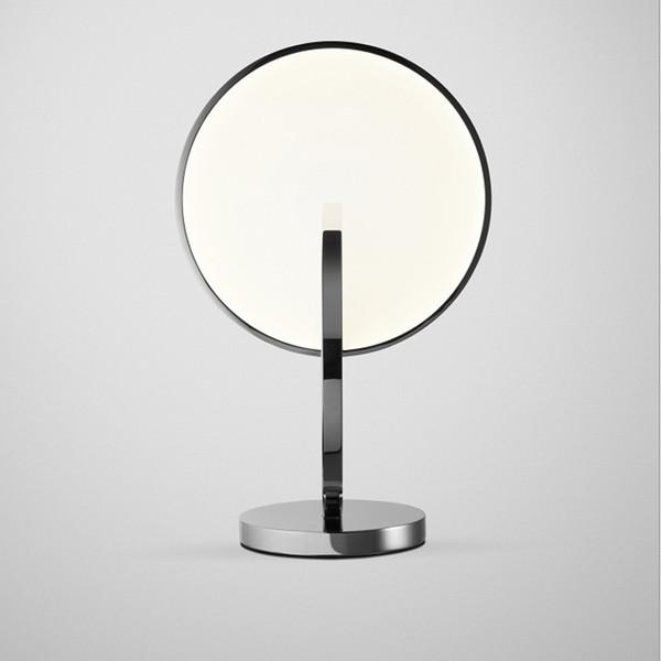 Modern Silver round metal LED table lamp bedside showroom decor mirror Table light study Bedroom eye Room Home lighting G811