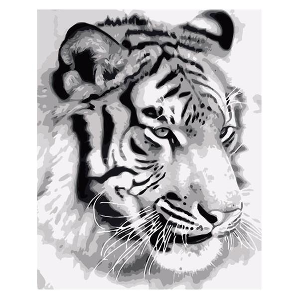 Nuevo producto diy pintura al óleo número kit de pintura al óleo blanco lona tres cepillos gancho de metal felid tigre amantes de la costa buena vívida decorativos