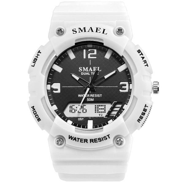 SMAEL Men Watches White Sport Watch LED Digital 50M Waterproof Casual Watch S Male Clock 1509 relogios masculino Man
