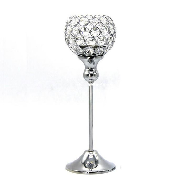 """20Pcs Glass Crystal Candle Holders, 12"""" Tall x4"""" Wide,Wedding Centerpiece Metal Silver Candlestick Candle Stand free shipping"""