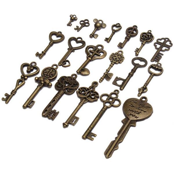 New 19pcs Antique Vintage Old Look Skeleton Key Pendant Heart Bow Lock Steampunk Necklace Hanging Decor DIY Crafts