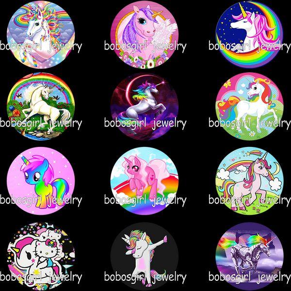 Cartoon rainbow unicorn glass snap button photo print Phone Holder GS9347