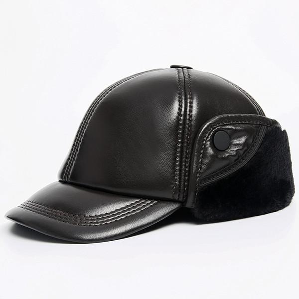 Russian Super Warm Winter Beret Hat Men Genuine Leather Casquette Cap Male Brown Black 100% Sheepskin Earflap Furry Bomber Hat