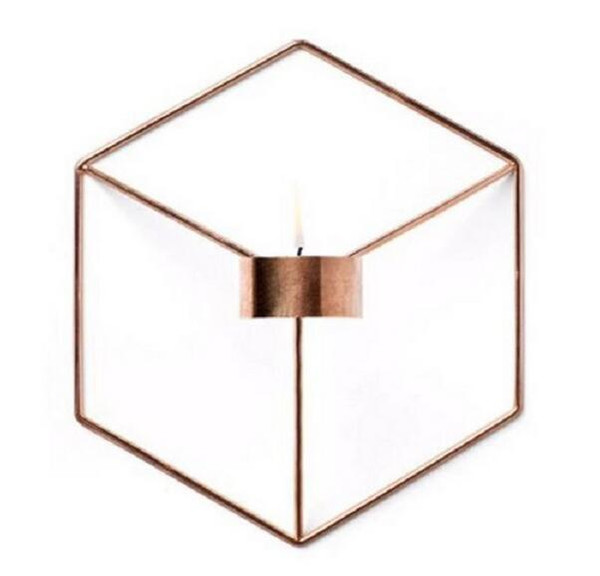 Event Visual Touch Nordic Style 3D Geometric Candlestick Metal Wall Candle Holder Sconce Matching Small Tealight Home Ornaments hot Party