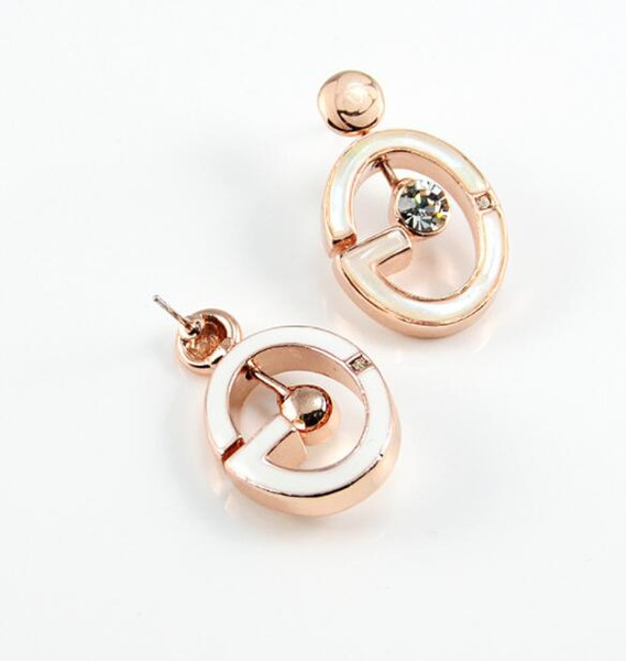 Fashion Diamond Seashell Alphabet Crystal Earrings Women's High-end Joker Earrings
