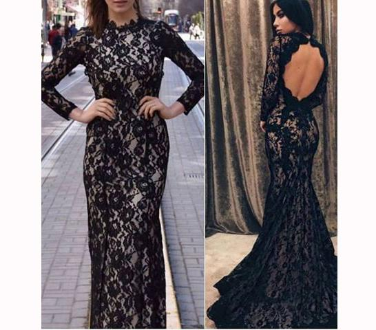 Sexy Long Sleeves Evening Formal Dresses Cheap Long Black Lace Illusion Sheath Keyhole Back Homecoming Party Prom Dress Gowns