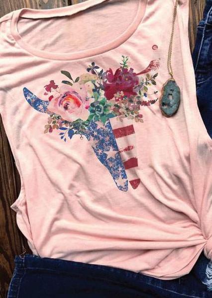 Tank Tops Women Floral American Flag Bull Skull Print Tank 2018 Casual Female Pink O-Neck Vest Summer Sleeveless Ladies Tops Tee