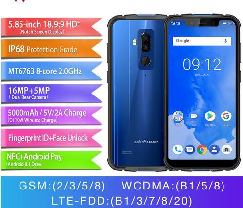 """Ulefone Armor 5 IP68 Waterproof Mobile Phone Android 8.1 5.85"""" HD+ Octa Core 4GB+64GB NFC Face ID Wireless Charge Smartphone"""