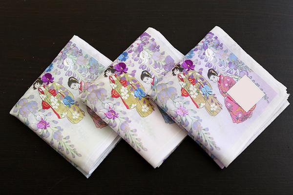 Quality Japanese Style Cotton Handkerchief Wisteria Flower Pattern Ladies MenS Pocket Square Handkerchief New Hot Handkerchief