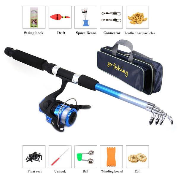 Fishing Rod Combo and Reel Full Kit + 50cm Portable PVC Fishing Bags Spinning Reel Gear Pole Set + Lures Hooks