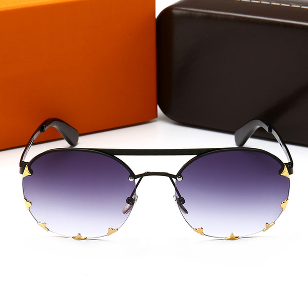 2018 Sunglasses Men Women Brand Fashion Oval design UV Protection Lens Coating Mirror Lens Frameless Color Plated Frame Come With package