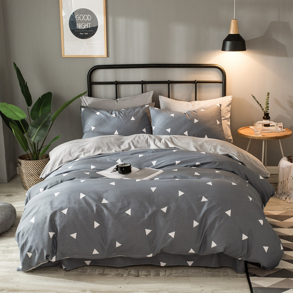 Coon/Flannel Bedding Set Gray Geometric Paern Duvet Cover Solid Flat Sheet Soft Winter Fleece Bed Set Queen King For Adult