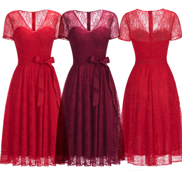 2019 New Burgundy Red Full Lace Cocktail Party Dresses V Neck Sash with Short Sleeves Designer Occasion Dresses Formal Evening Dress CPS1144