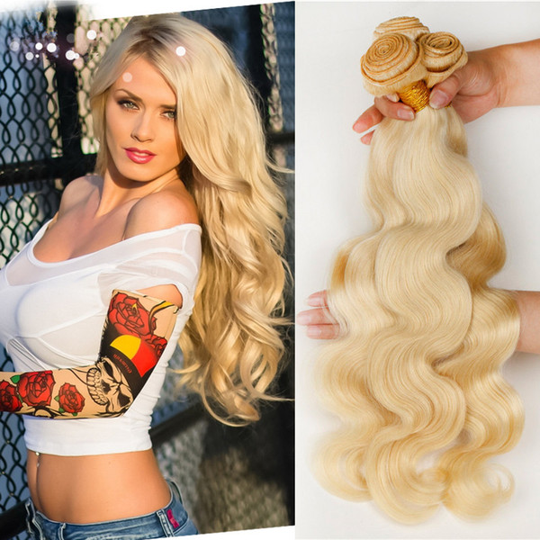 ELIBESS Hair--Body wave Hair Bundles 100% Human Russian 613 Blonde color Hair Weft 100Grams, FREE DHL