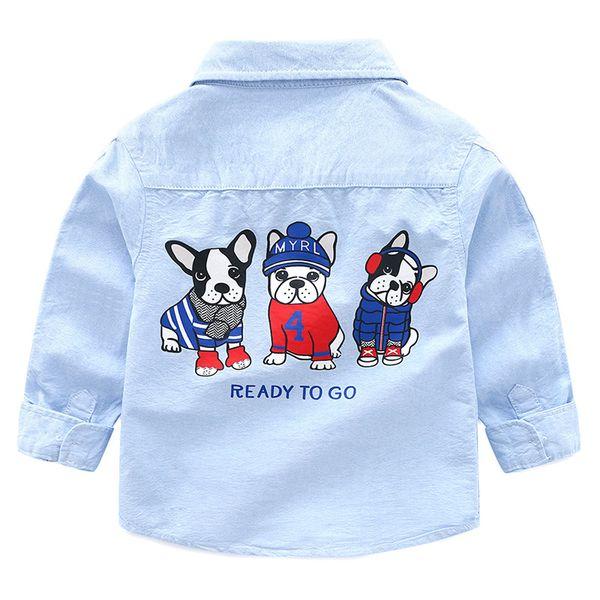 top popular 2018 New Arrival Enfant Boys Girls Shirts Cotton Children Clothes Long Sleeve Classic Cartoon dog Kids Blouses Boys Shirt 2-6y 2021