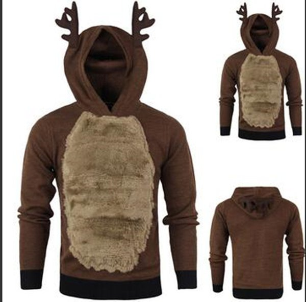 Winter Christmas Animal Deer Men Sweatshirt Hooded Casual Long Sleeve Hoodies Solid Coffer Pullover Designer Sweatshirts
