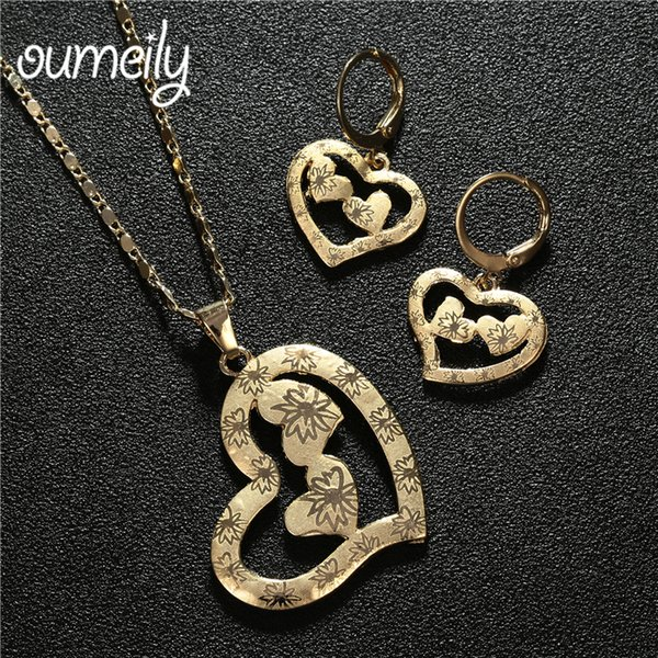 OUMEILY Nigerian Wedding Jewelry Set 2018 African Beads Heart Costume Jewellery Gold Color Necklace Earrings Indian Dubai Set