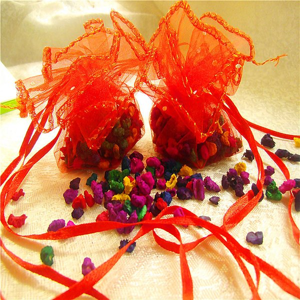 50 adet / paket Mix renk Takı Ambalaj İpli Yuvarlak Organze Çantalar Düğün Hediye Çanta Torbalar Poşet Ambalaj Şeker