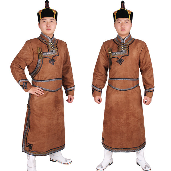 top popular Male robed mongolia clothes male costume imitation deerskin velvet Mongolia clothes mongolian robed Outfit Mongolian folk dance costumes 2021