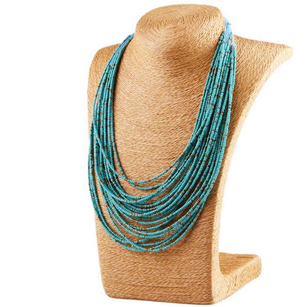 Collana con perline in lega di Boemia lega gioiello multistrato