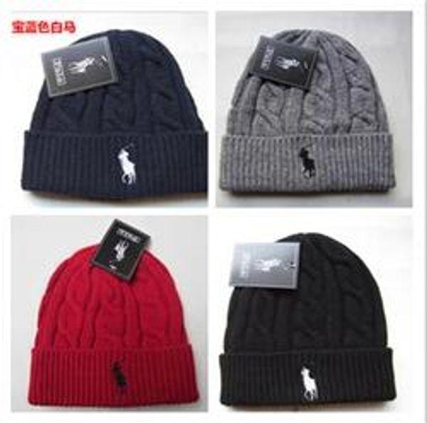 2018-Hot Fashion Unisex Spring Winter Hats for Men women Knitted Beanie Wool Hat Man Knit Bonnet Polo Beanie Gorros touca Thicken Warm Cap