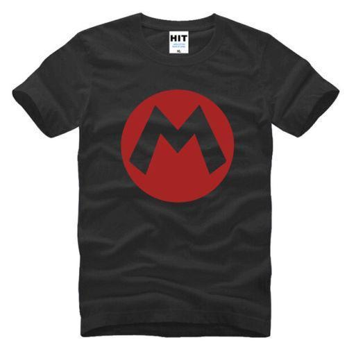 Cute Cartoon Super Mario Logo Black Short Sleeve Men T Shirt Size S-3XL