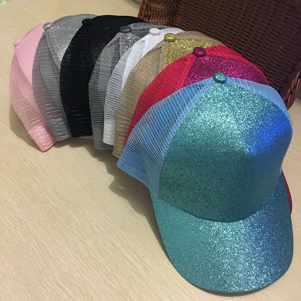 2018 letter Glitter Ponytail Baseball Cap Snapback Dad Hat Summer Women Mesh Trucker Hats Messy Bun Sequin Shine Hip Hop Caps Casual