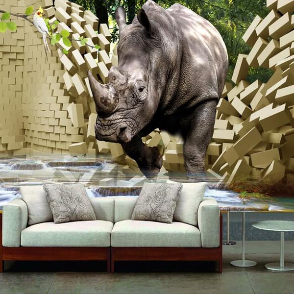 Compre Custom Large Mural Papel De Pared 3d Stereo Rhino Broken Wall Tv Background Photo Wallpaper Sala De Estar Dormitorio Non Woven Wallpaper A
