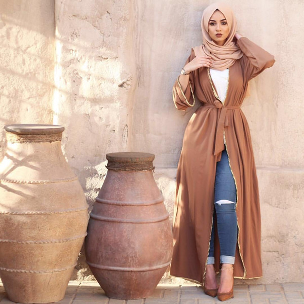 top popular Wholesale Muslim Women Long Sleeved Abaya Dress S-2XL Plus Size Islamic Women Solid Color Jilbab Dress 2021
