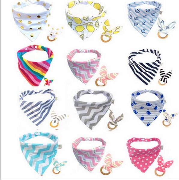 Baby Bibs+Teeth Stick 2pcs/set Infant Wave pattern Burp Cloths Teething Ring Wooden Teething Training Infant Burp Cloths KKA5203