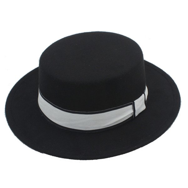 Fashion Solid Color Fedoras Wool Blend Jazz Cap Wide Brim Flat Top Top Hat Unisex Wool Blend