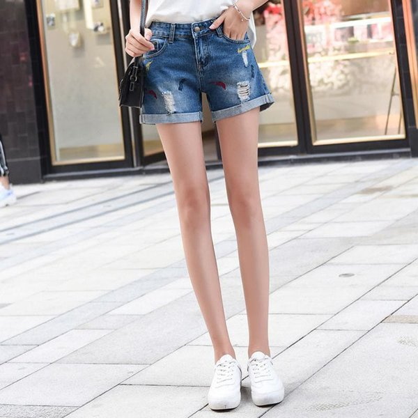 cheapest detailed look autumn shoes 2019 2018 Women'S Wear Shorts Beach Pants Sexy Pants Jeans High Waist Loose  Ripped Hole Fringe Embroidery Slim Casual Denim Hot From Smotthwatch, ...