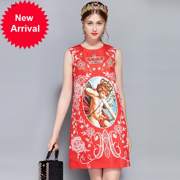 Fashion Runway Summer Dress Women's Sleeveless Luxury Crystal Beading Vintage Angel Crown Floral Print Red Dress