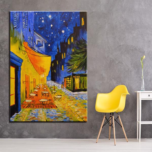 Compre Impresiones Hd Poster Wall Art Framework 1 Unidades Cafe Terraza En La Noche Pinturas De Lona Impresionismo Imágenes Para La Sala De Estar