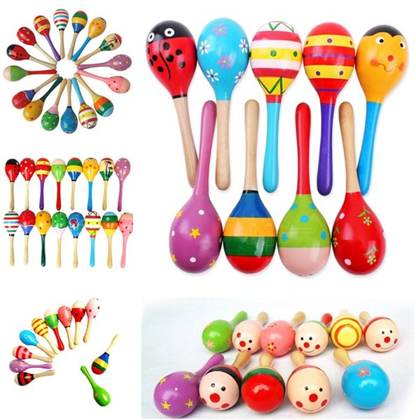 Educational Toys Hot Sale Baby Wooden Toy Rattle Baby cute Rattle toys Orff musical instruments sand hammer T5I125
