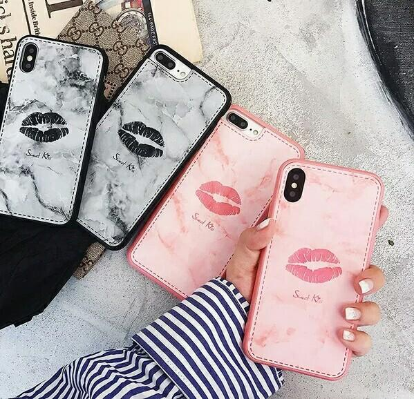 Sexy Lips Back Cover Marble Skin Texture Phone Case Sweet Kiss Shell Girl Lip Protector for iPhone X 6 7 8 6s Plus