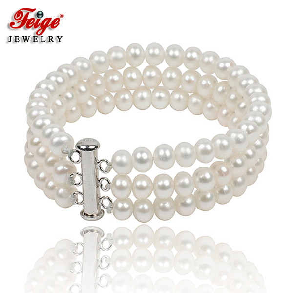 Classic Natural Pearl Strand Bracelet for Women Anniversary Jewelry Gifts 6-7MM White Freshwater Pearl Jewellery Handmade FEIGE S18101507