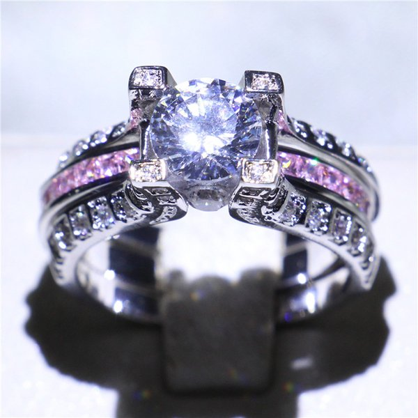 Women Gold Filled Jewelry Ring Set 3ct Cubic Zirconia Prong Setting Exquisite Pink Band Rings For Lover Engagement Wedding Anniversary Gift