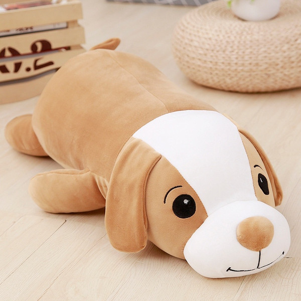 New Style The Smile Lay Down Dog Stuffed Animal Plush Toy Brown Gray pillow Cushion Soft pillow