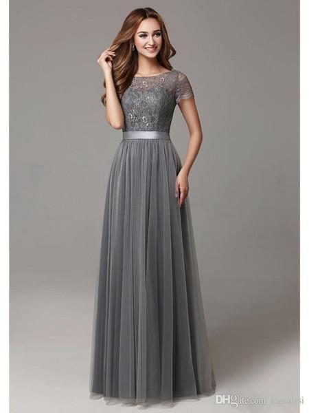 Grey Long Modest Lace Tulle Floor Length Women Bridesmaid Dresses 2017 Short Sleeves Sheer Neckline Formal Wedding Party Dress