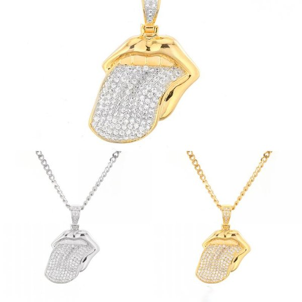 Hip Hop Jewelry Fashion Jewelry Rolling Stones 18K Gold Copper Inlay Zircon Big Tongue Pendant Gift 3 Styles