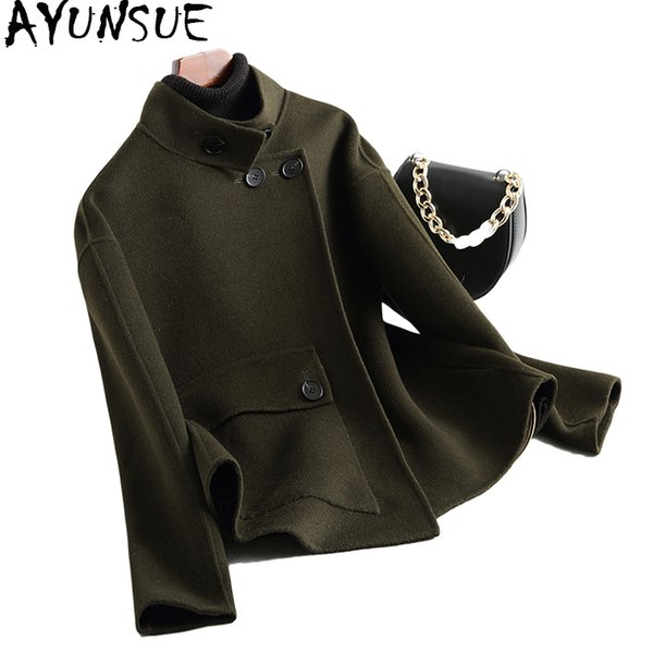 AYUNSUE 2018 Double-sided Real Wool Coats for Women Short Style Alpaca Wool Coat Female Spring Autumn Women's Jackets WYQ1737
