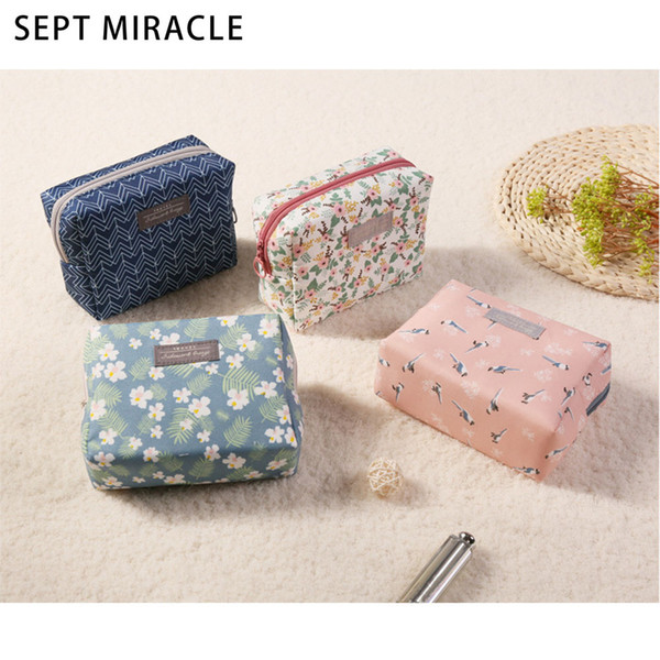 SEPT MIRACLE Cosmetic Bag Women Zipper Makeup Bag Cotton Fabric Toiletry Pouch Money Portable Travel Cosmetic