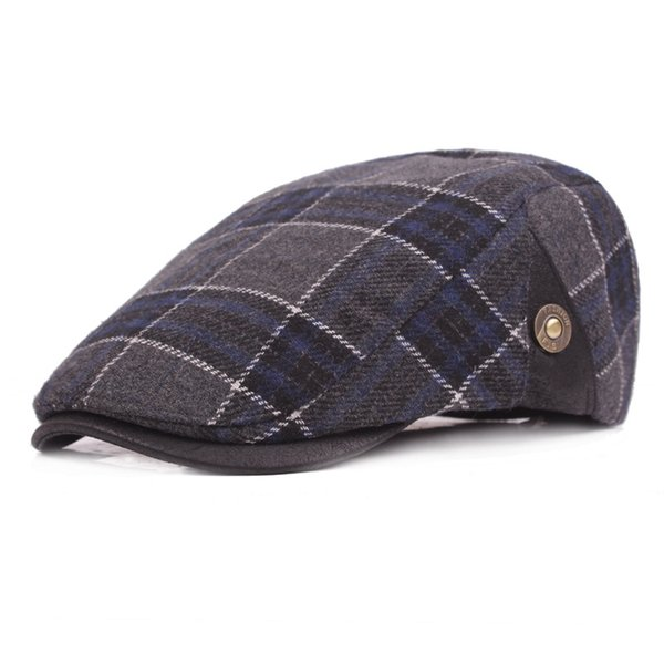 Winter Thick Peaked Visor Caps Vintage Warm Wool Flat Berets Caps for Men Print Plaid Beret Hat