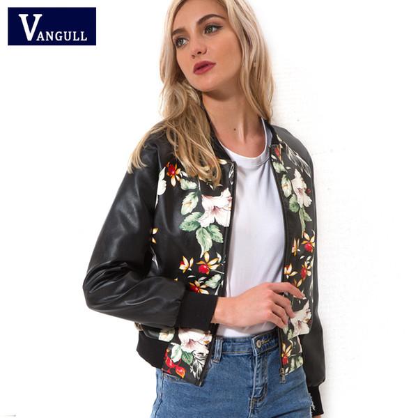 Черный мягкий кожаный мотоцикл Бейсбол куртка молния одежда дамы весна осень ПУ печати цветочные кожа тонкий пальто и пиджаки