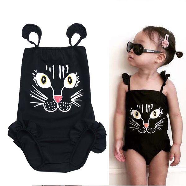 c697d91560f Kids Baby Girls One-Piece Black Swimwear Cartoon Cat Print Sling Swimsuits  Bikini Swimwears Swimsuit Children Bathing Suit Beachwear