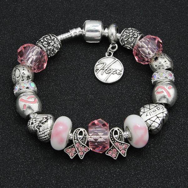 pink ribbon breast cancer bracelet awareness charms Pandora Charm Bead Bracelet Jewelry