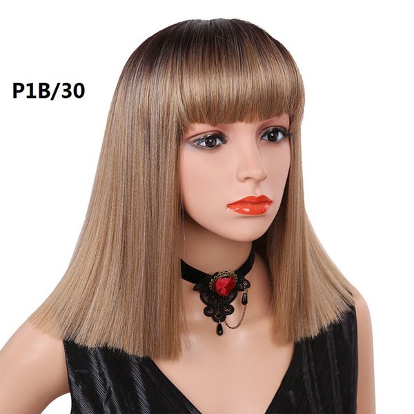 Short Bob Heat Resistant Hair Yaki Straight Black Glueless Synthetic Lace Front Wig Synthetic Hair 14 Inch Natural Brown Color