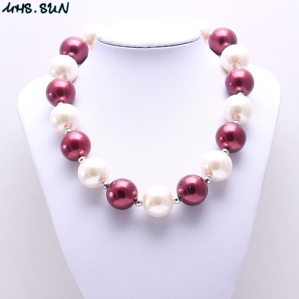 MHS.SUN Ivory+Wine Red Pearl Baby Kid Chunky Necklace Best Gift New Design Bubblegume Bead Chunky Necklace Jewelry For Baby Kid Girl